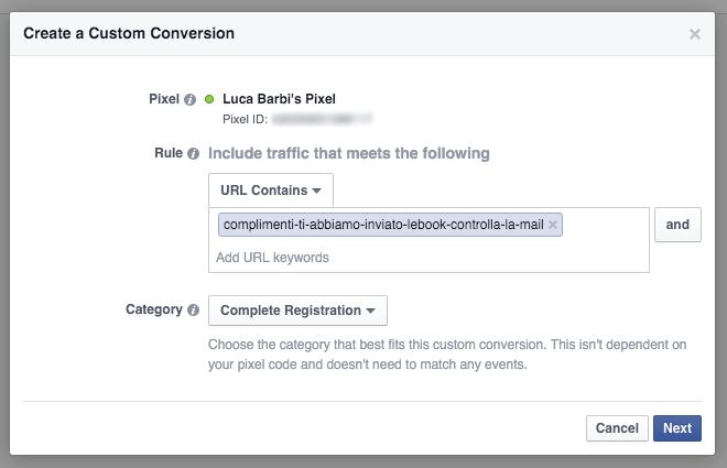 Guida alle Conversioni Personalizzate - Screenshot