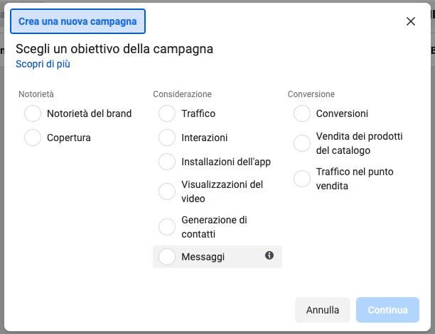 Crea una nuova campagna Facebook Ads con Gestione inserzioni