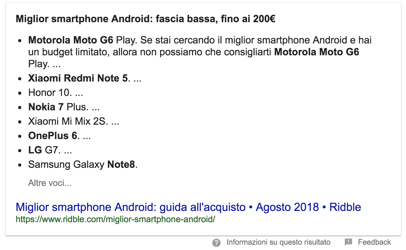 Esempio di Featured Snippet sotto forma di elenco puntato