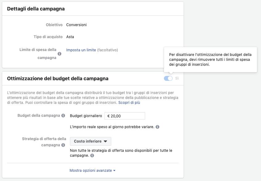 Facebook Ads, l'ottimizzazione del budget della campagna