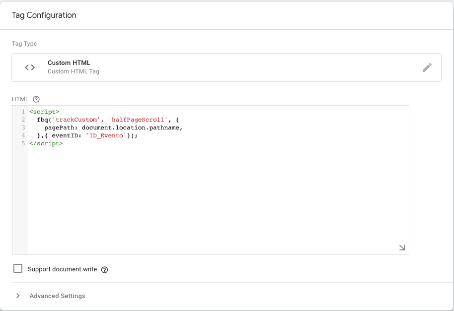 custom event facebook con google tag manager